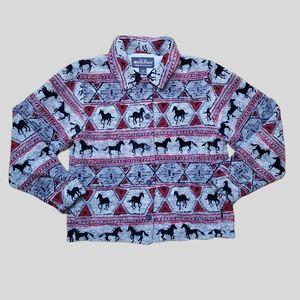 WOOLRICH grey horses button fleece jacket medium